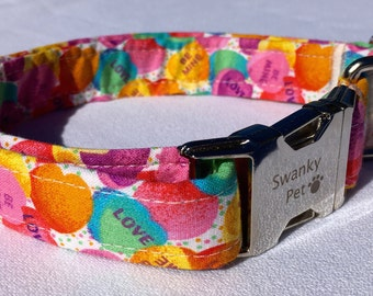 Valentine's Day - Candy Hearts Valentine's Dog Collar by Swanky Pet