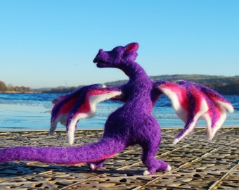 fantasy art - Needle felted Dragon Sculpture in Purples and Reds