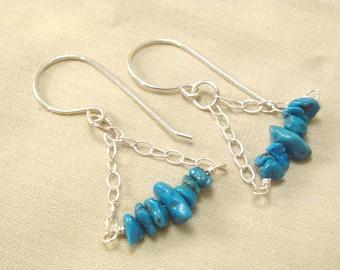 Turquoise boho - turquoise earrings - southwest earrings - blue boho earrings - blue jewelry - turquoise chips - blue silver earrings
