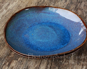 Rustic Blue and Brown Side Salad Plate Bowl Kitchen Prep Set (Two in set)