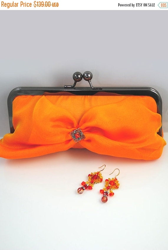 Promo sale: Hot Yellow Silk Evening Clutch / iridescent silk chiffon