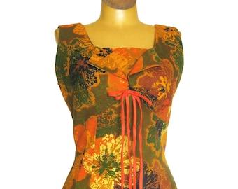 Vintage Hawaiian Dress / Orange and Olive Green / Fitted Dress / Bright Tiki Print / Aikane Fashions Honolulu