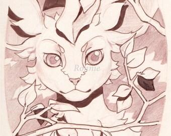 Leafeon original illustration matte print 11 x 8.5, pokemon, home decor