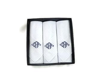 Monogrammed Handkerchiefs White Set of 3