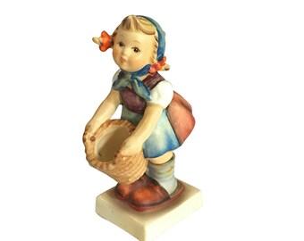 Porcelain Hummel Figurine   Girl with Basket   Vintage Child   Spring Home Decor