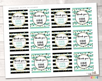 "Bridal Shower Party Favor Tags or Cupcake Toppers Printable 2"" Party Circles Instant Download PDF with Black & Aqua Blue Stripes Polka Dots"