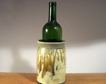 Stoneware Wine Chiller , Pottery Wine Chiller , Wine Chiller , Asparagus Keeper , Untesil Holder , Slip Texture and Layered Glaze Finish