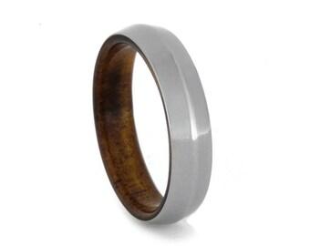 koa wood ring with knife edge titanium overlay wood wedding band - Koa Wood Wedding Rings