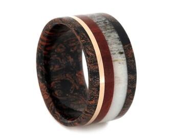 Red And Black Mokume Gane Ring, Deer Antler Wedding Band With Ruby Redwood And a 14k Rose Gold Pinstripe, Men or Womens Wood Ring