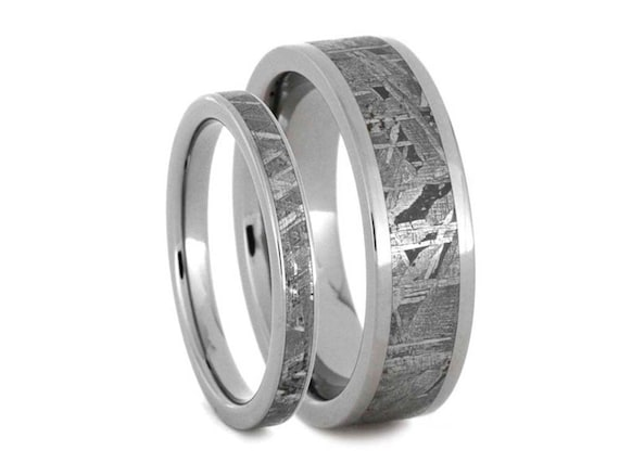 meteorite wedding ring meteorite ring in titanium wedding band set meteorite 5848
