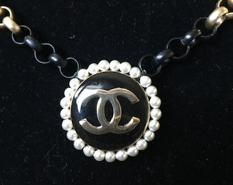 Gold and Black Chain Necklace with Vintage Chanel Button