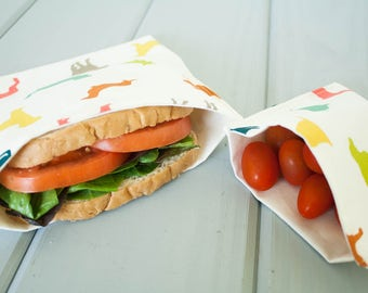 PLASTIC-FREE Colorful Puppy Dogs Sandwich and Snack Bags, Reusable, Organic Cotton, Eco Friendly - Set of 2