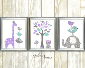 baby girl nursery decor purple gray aqua nursery baby room decor giraffe elephant tree birds owl