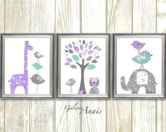 Baby Girl Nursery Decor Purple gray aqua nursery Baby room decor giraffe Elephant Tree Birds Owl room decor Set of three prints