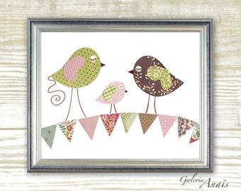Baby Girl nursery decor nursery art kids decor Bird Nursery wall art baby art - Summertime print