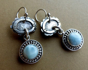 Rustic Textured Sterling Silver & Larimar in Dotted 925 Silver Dangle Earrings . Rustic Boho Southwest Style Jewelry