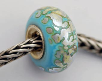 Unique One-of-a-Kind Silver Glass Bead  - Artisan Glass Bracelet Bead - (MAY-60)