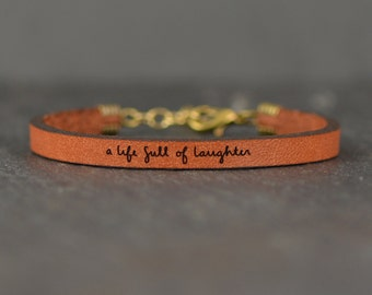 a life full of laughter - adjustable leather bracelet  (additional colors available)