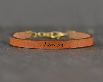 choose joy - adjustable leather bracelet  (additional colors available)