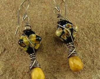 Picture Jasper and Raku Lampwork Sterling Silver Dangle Earrings