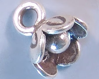 Karen Hill Tribe Silver Flower Drops T393 (2) Floral Charms, Flower Charms,