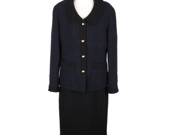 Authentic CHANEL Vintage 1993 Blue Wool Blend SKIRT SUIT Size 42 fr