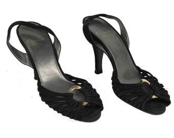 Authentic CHRISTIAN DIOR Vintage Black Suede HEELED sandals shoes size 38,5