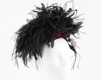 VINTAGE 1950s Italian Black FEATHERS and TULLE Woman Evening headdress