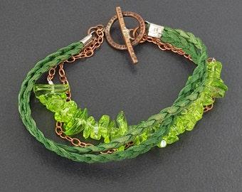 Peridot Leather Bracelet, 5 strand bracelet, multi strand, leather bracelet, green leather, boho, bohemian, peridot bracelet,copper bracelet