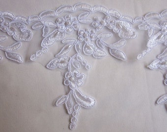 WHITE Beaded Lace Sequin Pearl Embellished Embroidered Floral Trim Christening Gown Doll Bridal Dress Veil