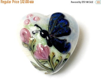 ON SALE 40% OFF Handmade Glass Lampwork Bead - Blue Sparkle Garden Butterfly Heart 11835005