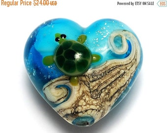 ON SALE 45% OFF Turtle Cove Heart (Large) 11834725 - Handmade Glass Lampwork Bead