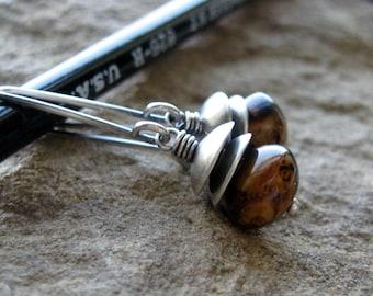 Caramel Dark Brown Czech Glass Earrings-Rustic Sterling Silver-Minimalist-Glass Bead-Brown-Earthy