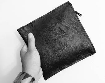 Black Distressed Leather Clutch