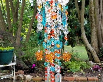 Bohemian Antique Crystal Wind Chime, Orange and Turquoise Crystal Wind Chime, Crystal Sun Catcher, Bohemian Crystal Mobile, Crystal Art