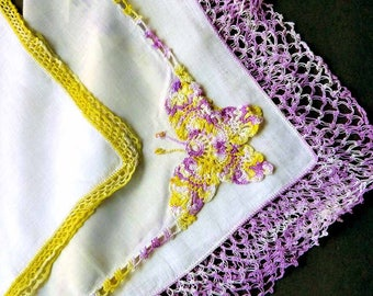 Lot of Three  (3) Linen Handkerchiefs Crochet Butterfly Lace Yellow Lavender Cottage Chic Hand Stitched Hem Steampunk RePurpose Projects