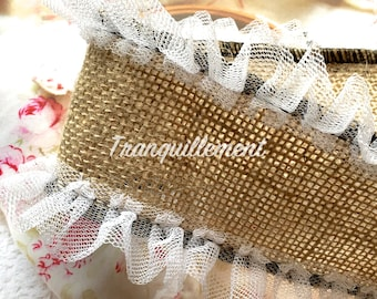 2 Yards Extra Large Wide Beige White Organza Ruffles Burlap Country Wedding Party Decorations Linen Hemp Jute Ribbon Trim 3.5 Inches / 9 cm