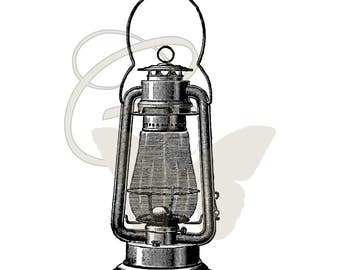 Camping Lantern Printable Clip Art Digital Download Illustration Transfer Image