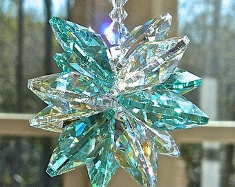 "Cluster of Swarovski Crystal Octagons in Antique Green and Clear Aurora Borealis, Shimmers in Low Light -  ""ESTELLE AQUA"" -  5"" or 9"" Length"