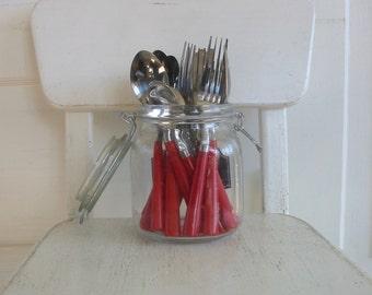 Vintage Red Utensils, Set Vintage Utensils, Christmas Utensils, Vintage Christmas Decor, Vintage Cutlery