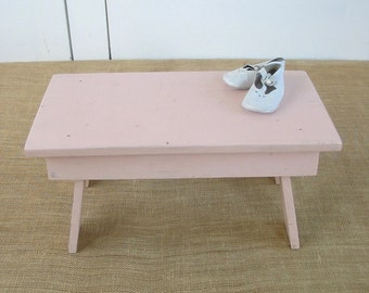 Vintage Pink Stool, Wood Stool, Vintage Pink Bench, Shabby Cottage Chic Stool, Pale Pink Stool, Pink Wood Stool, Pink Step Stool