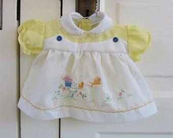 Vintage Baby Girl Dress, Infant Dress, Newborn Dress, Easter Dress, Bird Dress, Baby Dress, Spring Baby Dress, Yellow Dress, White Dress