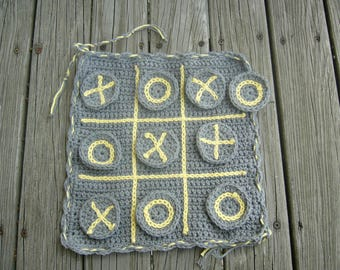 Crochet Tic Tac Toe Game, Ready to Ship game, travel tic tac toe game, travel game