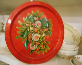 Vintage round metal Christmas Serving Tray