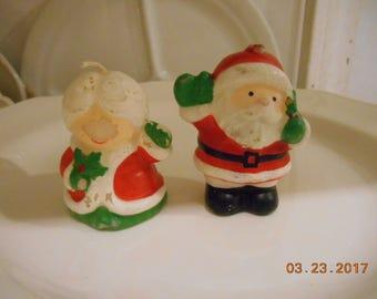 Vintage Hallmark Made in Hong Kong 2 Small Christmas Candles never used Santa and Mrs Claus