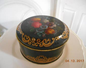 Vintage Case Made in England Black with Flowers Round Tin Can