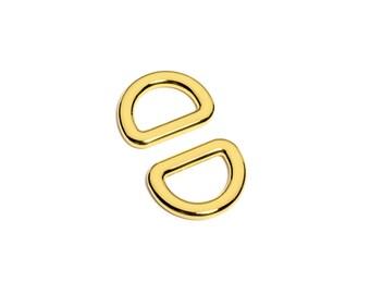 "10pcs - 5/8"" (16mm) Flat Zinc D-Ring - Gold - (FDR-101) - Free Shipping"