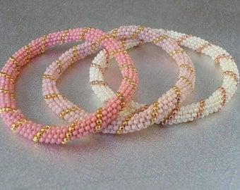 beaded bangle pink