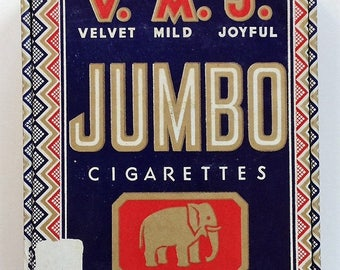 Vintage VMJ Jumbo Cigarettes Box with Elephant 1930s PA Tobacco