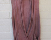 burgundy cotton gypsy blouse, upcycled tie dye XL, vest
